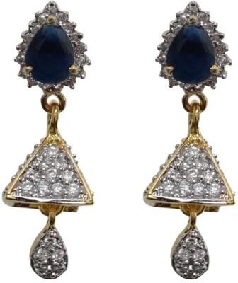 Sheetal Jewellery Trillion Blue Cubic Zirconia Brass, Alloy Drop Earring