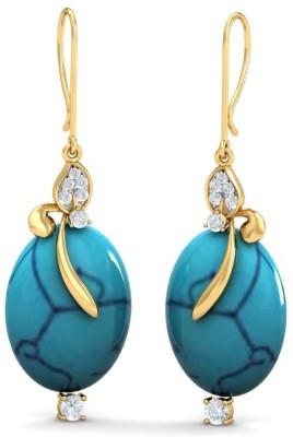 Aurobliss Blue Magic Yellow Gold 18kt Cubic Zirconia Drop Earring
