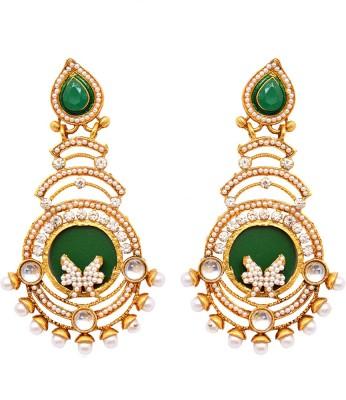 Ratnakar beautiful long earing with green & pearl Brass Stud Earring