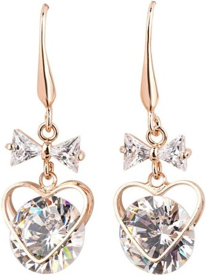 iSweven Cubic Zirconia For girls 18K Gold Plated Bow Heart Dangle Fashion Jewelry Top Quality Anniversary Party Gift Alloy Dangle Earring