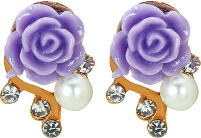 Amour Purple Rose Pearl Alloy Stud Earring