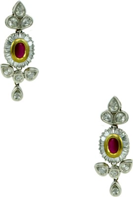 Orniza Victorian Earrings in Ruby Color and Rhodium Polish Brass Drop Earring