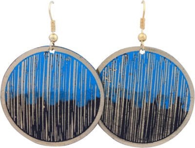 FSA Jewels Etched Drop Blue And Black Brass Dangle Earring
