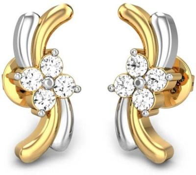Candere Malvika Yellow Gold 14kt Diamond Stud Earring