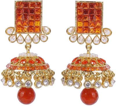 Muchmore Partywear Collection Matching Orange Crystal Alloy Jhumki Earring