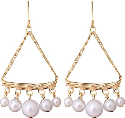 Super Drool Triangular Pearls Alloy Drop Earring
