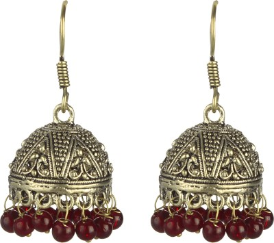 SAADGI Royal traditional oxidized gold plated red beads Beads Alloy Jhumki Earring