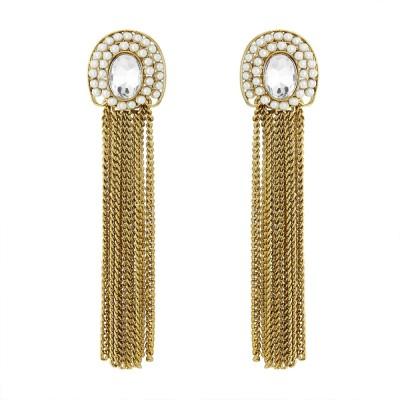 BeBold Long Pearl Antique Brass Drop Earring