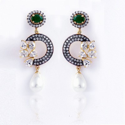 Aapno Rajasthan Cubic Zirconia Alloy Drop Earring