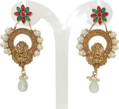 Anjan Engaging Designer Golden Temple Cubic Zirconia Brass Drop Earring