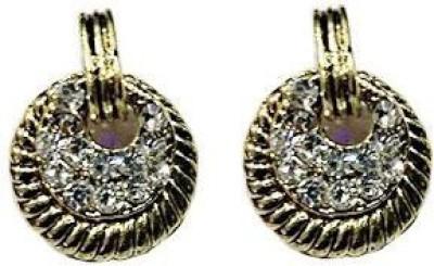 VML Vml White Stone With Golden Earring Alloy Stud Earring