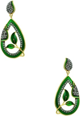 Orniza Victorian Earrings in Green Color and Black Gold Polish Brass Dangle Earring