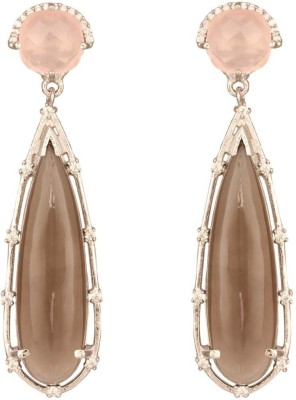 Mirror White Gemstone Party Earrings Silver Drop Earring