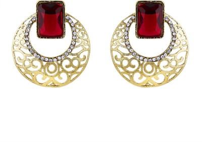 BeBold Chandbali Ruby Antique Brass Chandbali Earring