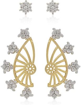 Jewels Galaxy 2 in 1 Interchangeable American Diamond 1141 Alloy Cuff Earring