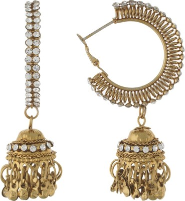 Dimple Creation stone studded Alloy Hoop Earring