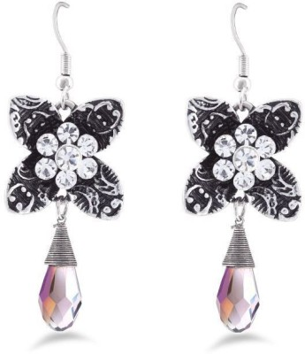 Jazz Jewellery Flower Shape Danglers Embellished With White Color Stones Alloy Drop Earring