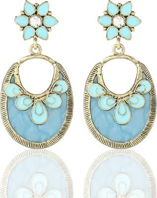 Castle Street Blue Oval Alloy, Acrylic Chandelier Earring