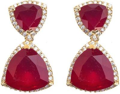 6 Lotus Stone Design Brass Drop Earring