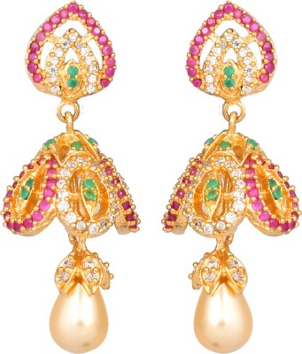 Abhijewels Pink Green American Diamond Studded Gold Plated Alloy Jhumki Earring