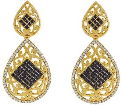 Art Nouveau Drop Shaped Brass Chandelier Earring