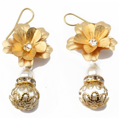 Aarya 24kt Gold Foil Flower design Silicone Drop Earring