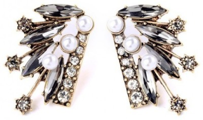 femnmas Celebrity Black Wing Pearl Alloy Stud Earring