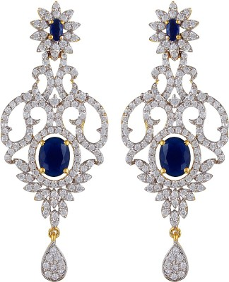 Moda Stella Vine Leaf Blue Brass Chandelier Earring