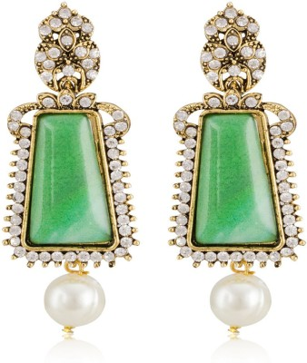 Colors of Sin Big green rectangle dome with hanging pearl Alloy Dangle Earring, Drop Earring