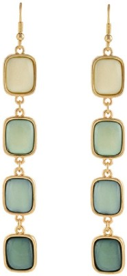 Aaishwarya Shades Of Green Party Drop Statement Crystal Alloy Dangle Earring