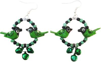 Juhi Malhotra Green And Black Bird Wood Drop Earring