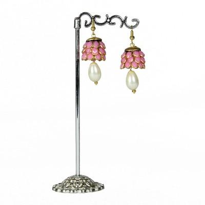 Artisan Pink & White Pacchi Metal Jhumki Earring