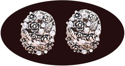 Indian Cheez Designer Black Flower and Leaf Carving Earrings with Diamonds Metal Earring Set