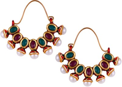 Mahaveer Pearls Red & Green Coloured Stone with Pearls Pearl Brass Hoop Earring