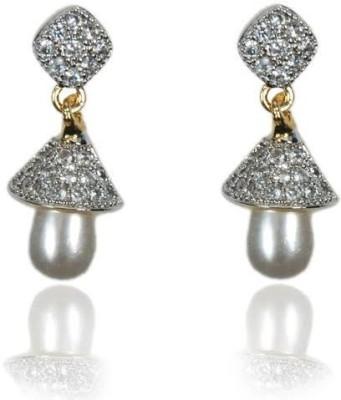 Rashi Jewellery Stunning AD White Pearl Brass Drop Earring