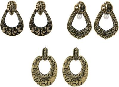 Pankh 3 Pair Earrings Set Combo Brass Chandbali Earring