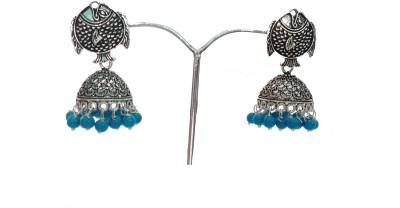 modifier Blue Fish Style Beads Alloy Jhumki Earring
