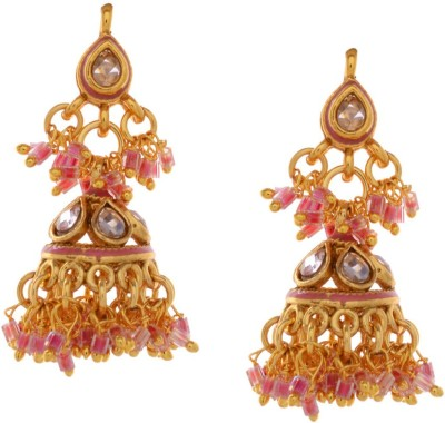 Gehnamart Stylish Pink Beads Alloy Jhumki Earring