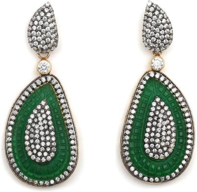 Magiq Ad-Leaf-Green Stone, Brass Drop Earring