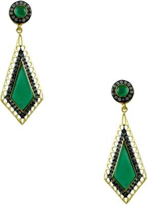 Orniza Victorian Earrings in Emerald Color and Black Gold Polish Brass Dangle Earring