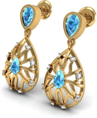 R S Jewels Creative Designs Yellow Gold 18kt Diamond, Topaz Drop Earring