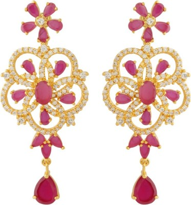 Voylla Artificial Classic Embellished Crystal Brass Dangle Earring at flipkart