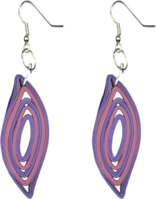 Trendmania Purple and Pink Eye shape paper quilled earrings Paper Dangle Earring