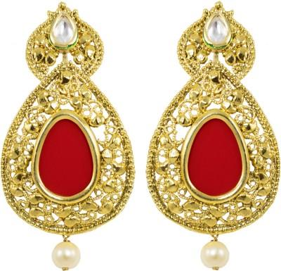 Jewelskaro Dangler Antique Designer Fashion jewelry Designs Gold Plated Red Copper Dangle Earring