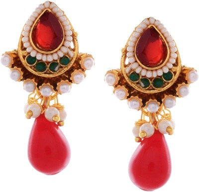 Gehnamart Kundan Red Alloy Drop Earring