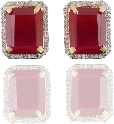 Chaahat Fashion Jewellery Simple Designed Cubic Zirconia Copper Stud Earring