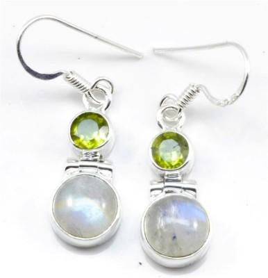 YugshaJewels YJE-07 Moonstone, Peridot Silver Dangle Earring