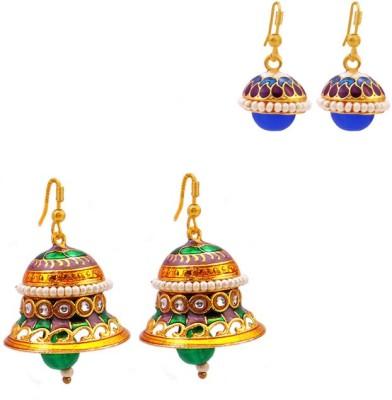 MK Jewellers Jingle bell-shaped and drop-shape earring Combo Brass, Copper Earring Set