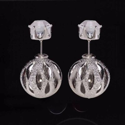 Amour Unique Hollow Out Ball Earrings Fashion Crystal Stud Earring For Women Alloy, Metal Stud Earring