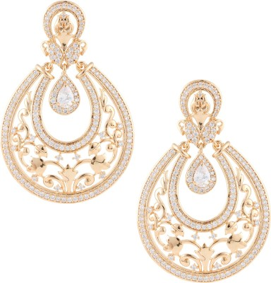 Beautiart Dull Gold Pearl Drop Cubic Zirconia Alloy Chandbali Earring